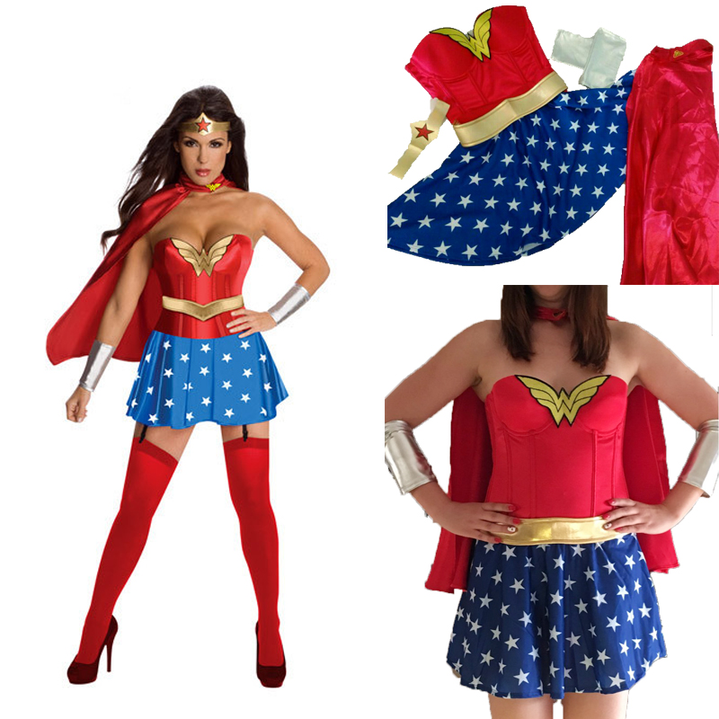 2018 Hot Wonder Woman Halloween Cosplay Costume SuperGirl Role Playing Party Costume Super Girl Women Party Funny Dress