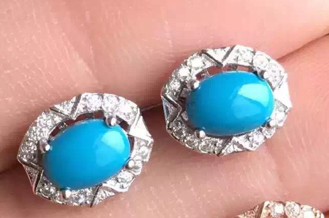 цена на natural blue turquoise stone earrings 925 silver Natural gemstone earring women classic round earrings for anniversary