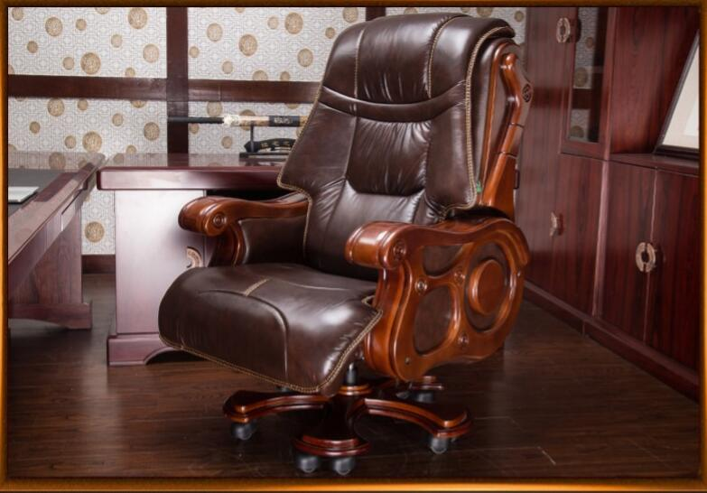 Купить с кэшбэком Luxurious solid wood chair office chair computer chair can lie skin massage boss chair..