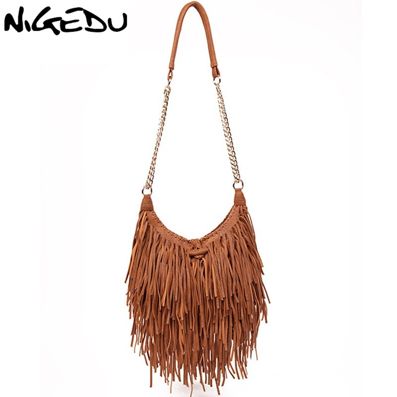 NIGEDU brand design Vintage women long Tassel bag Chain Crossbody Bags for Women's Shoulder messenger bag Quality PU Handbags pu tassel design crossbody bag