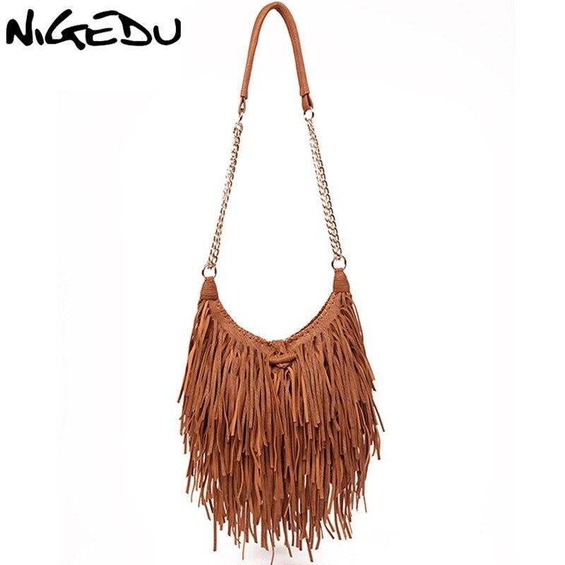 NIGEDU Brand Design Vintage Women Long Tassel Bag Chain Crossbody Bags For Women'sShoulder Messenger Bag Quality PU Handbags