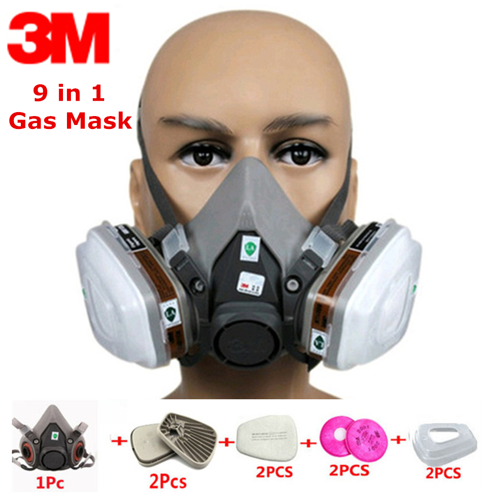 9 In 1 Suit 3M6200 Gas Mask Respirator Headset Anti-particulate Filters Anti-Dust Mask Anti-fog And Haze PM2.5 Protective Masks жидкость для генераторов эффектов синтез аудио disco fog haze oil 1