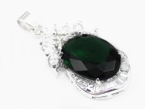 Gros noble 13 * 18 mm vert zircone belle conception cystal inlay pendentif bijoux