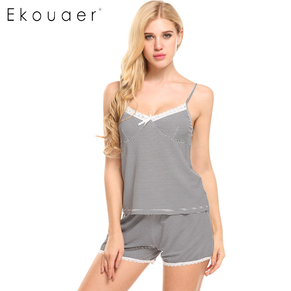 Ekouaer Pajamas Sets Spring Summer Women Striped Pajama Halter Top With Sleep Shorts Solid Lace Lady Nightgown Home Clothes