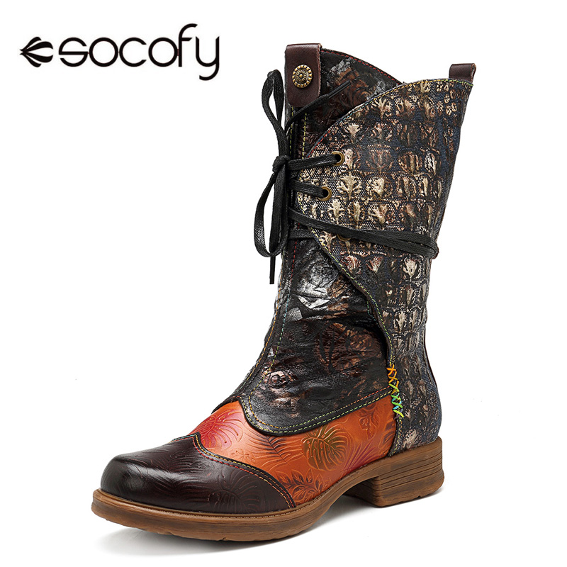 Socofy Genuine Leather Mid-calf Western Boots Women Shoes Woman Vintage Casual Lace-up Cowboy Winter Boots For Girls Botas Mujer 2018 mid heel grey black leather cowboy women boots retro autumn winter boots lace up knee high boots shoes woman botas mujer