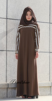 DovesShow Stripe Daewoo Nexia Dubai Abaya Jilbab Traditional Islamic Clothing Djellaba Robe Musulmane Muslim Dress Turkish
