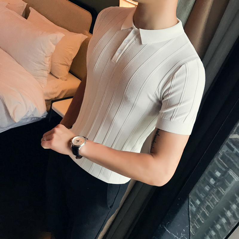 2019 summer ice silk short-sleeved shirt Korean version of the collar shirt male Slim   polo   trend knit bottoming shirt thin