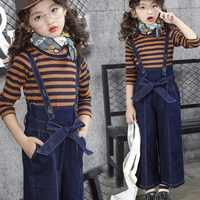 2018 Fashion Casual Toddler Teenage Girls Clothing Sets Striped Shirt+Denim Straps Pants 2 Pcs Children Kids Clothes Set JW3365