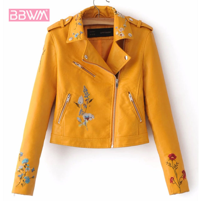 Embroidery female 2018 autumn new Korean version of the lapel locomotive PU leather short-sleeved lapel jacket Yellow pink Coat