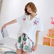 Frauen Pijama 100% Baumwolle Pyjamas Flamingos kurzarm Shorts Pyjama Sets drehen unten Kragen Sexy Pyjamas Loungewear Hause anzug