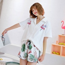 Womens Pijama 100% Cotton Pajamas Flamingos Short sleeved Shorts Pajama Sets Turn down Collar Sexy Pyjamas Loungewear Home Suit