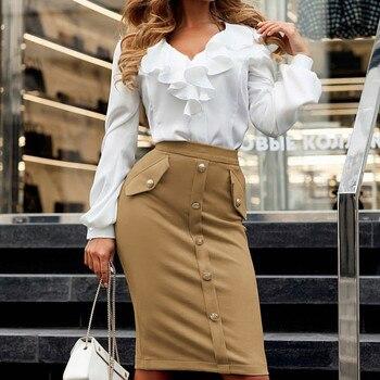 Women High Waisted Pencil Club Skirt Faldas Mujer Moda Bodycon Button Pocket Skirt Solid Knee Jupe Femme Slim Skirts Womens photo shoot