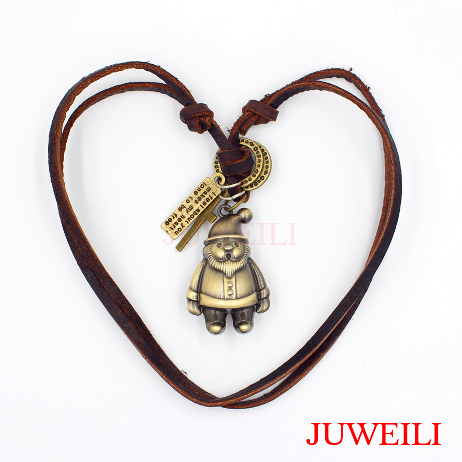 JUWEILI Jewelry 1x Cartoon Characters Santa Claus Baymax Robot Copper Adjustable Leather Necklace Pendant Students Gift