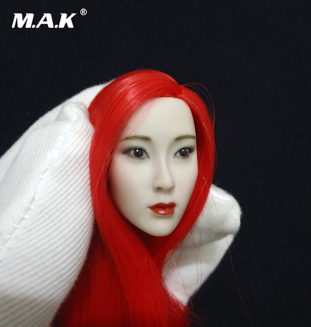 1 6 Scale Asian Beauty Red Hair Gril Head Sculpt Fit 12 Female Pale
