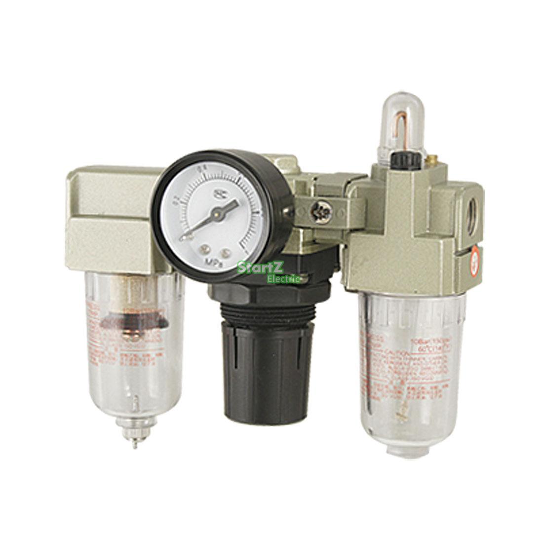 G1//4 Air Filter Pressure Regulator,Air Source Gas Treatment Unit Oil Water Separator for Pneumatic System,AC2000-02 Miniature Combo Moisture Trap Piggyback Compressed Air Filter Regulator