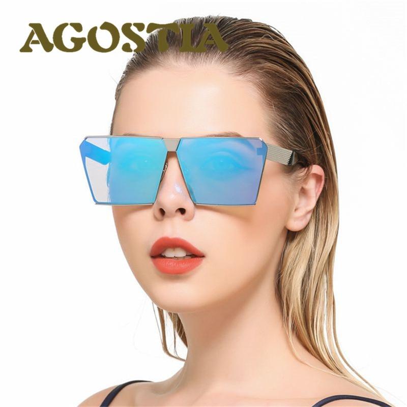 Hot Fashion Brand Designer Square Flat Top Sun Glasses Mirros