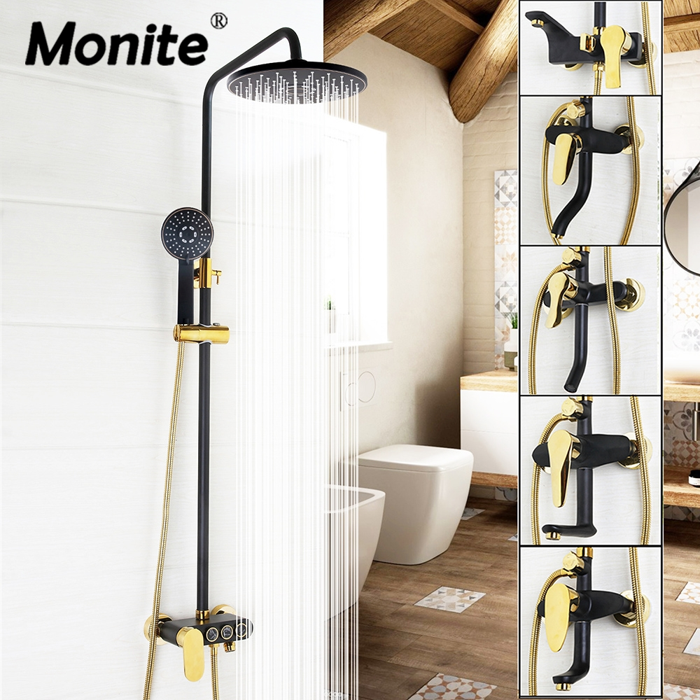 Luxury Painting Bathroom Rain Mixer Shower Combo Set Wall Mounted Rainfall Shower Head System Black Gold-plated Shower Faucet raco 4260 55 664c