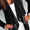 Moda de Manga Larga Irregular Otoño Abrigos Chaquetas Mujeres Camiseta Básica 2016 de LA PU Patchwork Leather Casual Cardigans Outwear