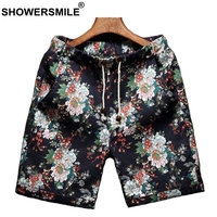 SHOWERSMILE Flower Print Shorts For Men 5xl Cotton Linen Hawaiian Board Shorts Male Drawstring Summer Beach Bermuda Short Pants