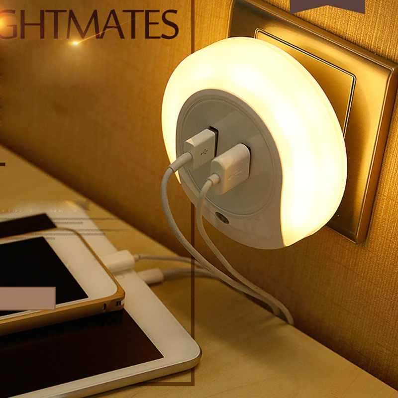 New New Design LED Night Light with Light Sensor and Dual USB Wall Plate Charger Perfect for Bathrooms Bedrooms 2018
