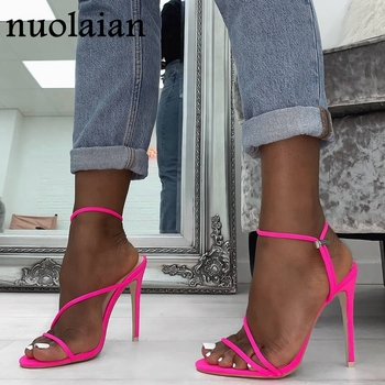 2019 Summer Pumps New Sexy Gladiator Sandals Shoes Women Thin High Heels Open Toe Sandal Lady Ankle Strap Pump Shoes Size 35-42 new sexy blue suede sandals women cool rhinestone jeweled high heels shoes summer cut outs ankle strap party shoes pumps jawakye