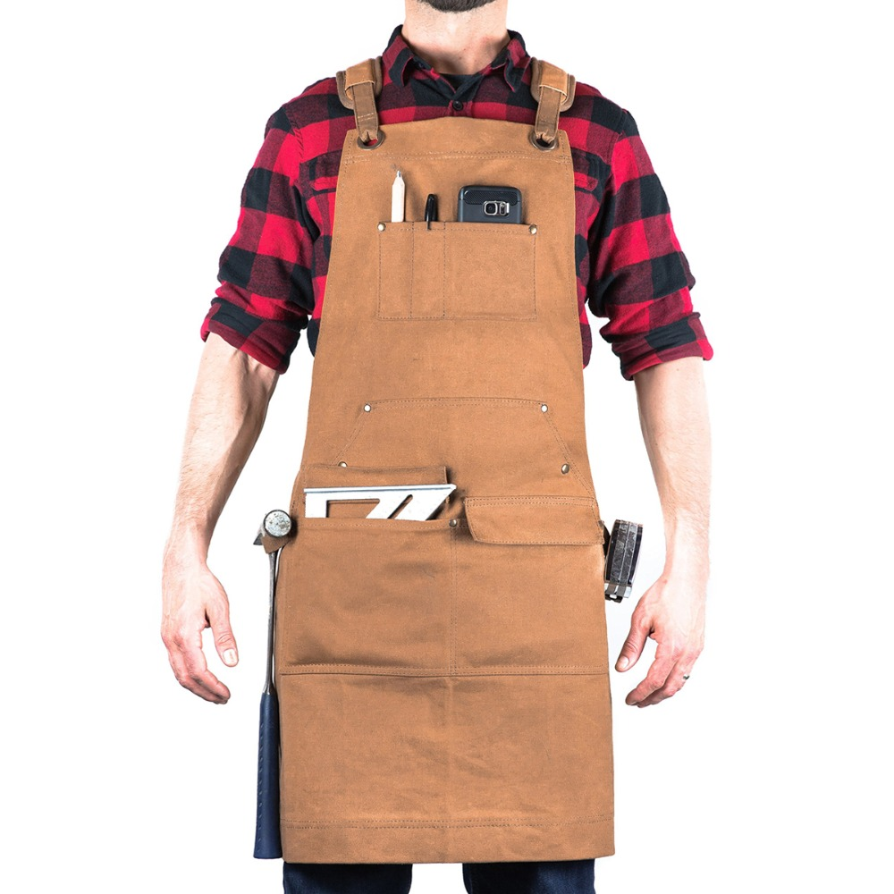 Woodworking Edition Waxed Canvas Apron Brown Padded Straps Quick Release Buckle 2x Hammer Loops Adjustable M