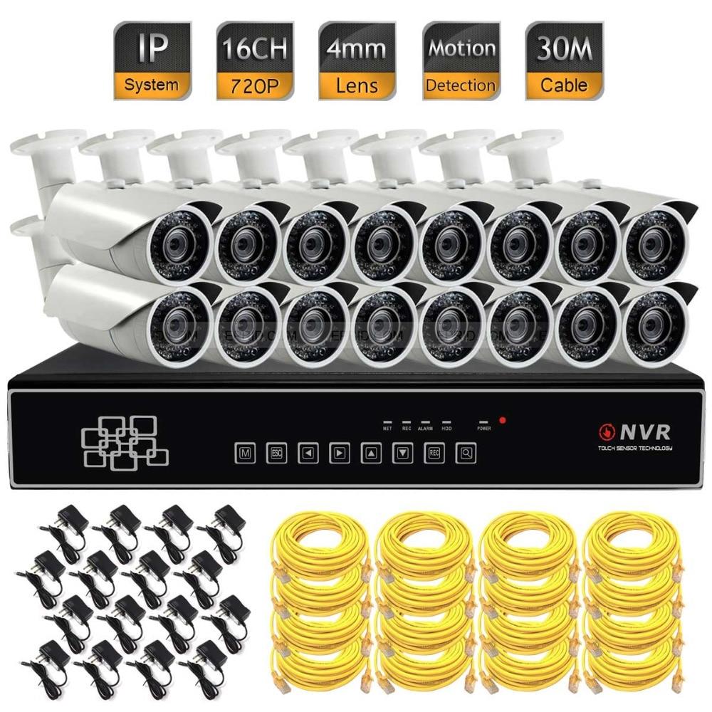 Video Surveillance Security NVR System 720P HD IP Camera ONVIF 16CH CCTV KIT