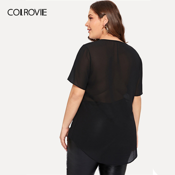 COLROVIE Plus Size Black Contrast Sequin Sheer Blouse Shirt Women 2019 Summer Short Sleeve Casual Office Ladies Blouses And Tops 2