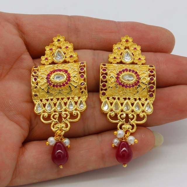 Adixyn Red Corundum Square Necklace/ Earrings Jewelry Set For Women Gold Color Cubic Zirconia Ethiopian Arabic India Items