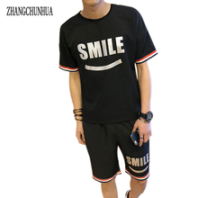 ZHANGCHUNHUA Men Set Summer Costume High Quality Short Sleeve T-Shirt & Shorts Two-Piece Combination Fashion Casual Suit