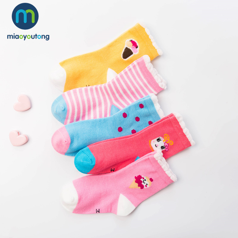 10 Pieces/lot 5 Pair Ice Cream Letter Lovely Safe Comfort Skarpetki Boy Newborn Socks Kids Cotton Baby Socks Girl Miaoyoutong