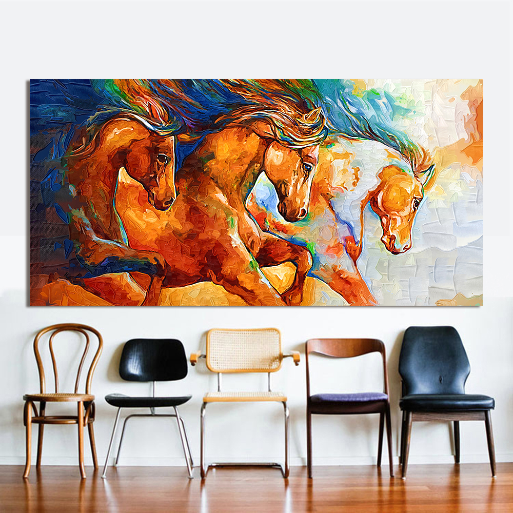 Canvas wall art 100% handpainted Three Horses Running oil Painting Animal Picture animal oil painting For Living Room Home Decor