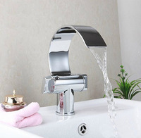 Homedec Dual Handle Waterfall Bathroom Vanity Sink Faucet Extra Large Crooked Spout Chrome Lavatory Widespread Mixer Taps