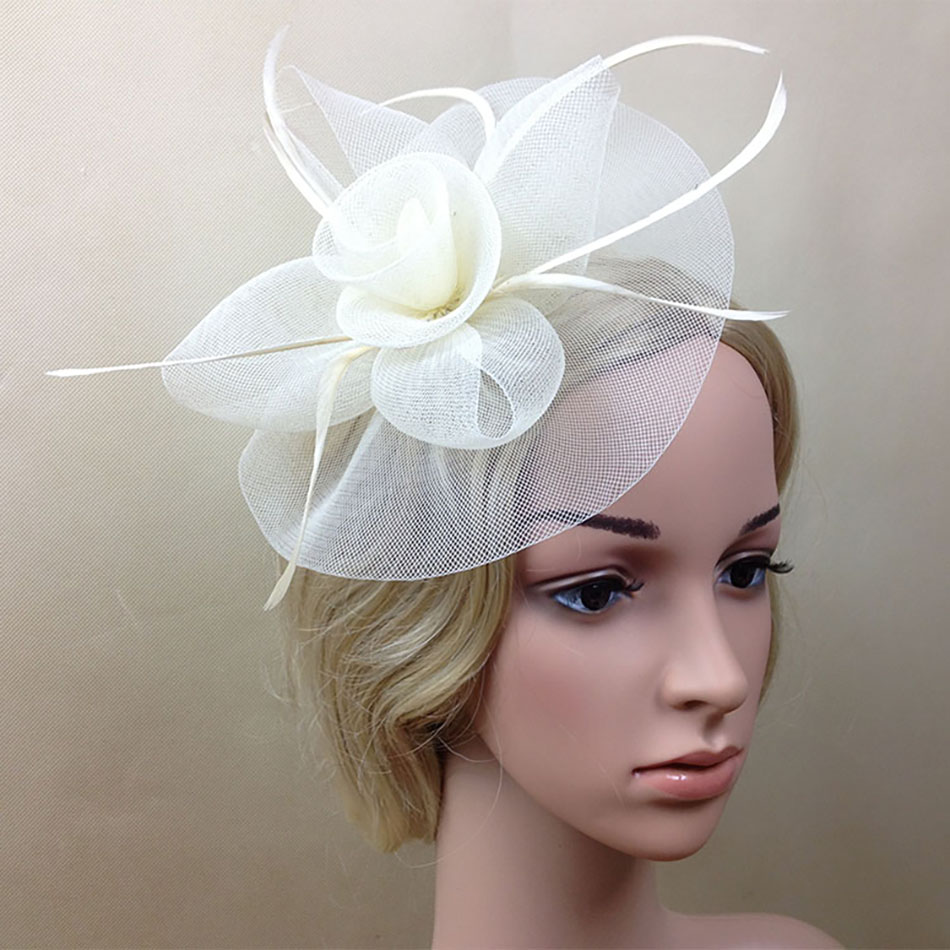 Ladies Large Ivory Feather Sinamay Hats Women Hair