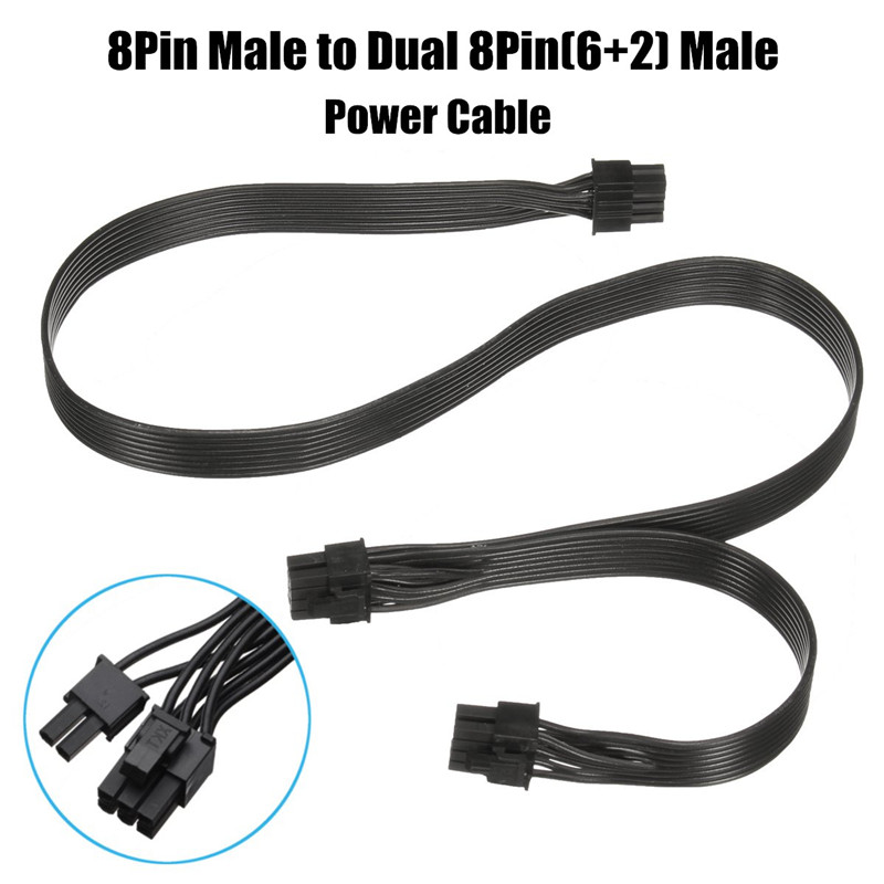 60cm 18AWG 8 <font><b>Pin</b></font> Male to Dual 8Pin(<font><b>6</b></font>+<font><b>2</b></font>) Male PCI-E Video Graphics Card Power <font><b>Cable</b></font> GPU Power <font><b>Extension</b></font> <font><b>Cable</b></font> Cord image