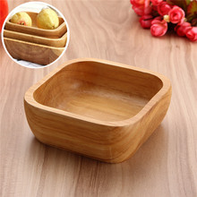 1Pcs Wooden Bowl for Soup Rice Noodles Bowls Kids Lunch Box Kitchen Tableware For Baby Feeding Food Containers Solid Single