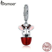 BAMOER Authentic 925 Sterling Silver Fancy Rabbit Cup Charm Pendant Fit Women Bracelet Necklaces DIY Jewelry