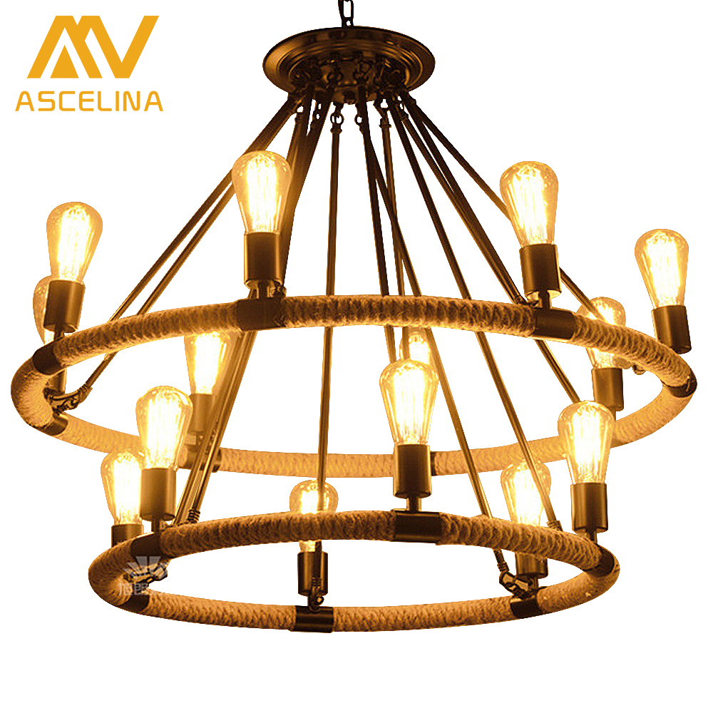 Loft style simple American Countryside retro chandelier bar Coffee hall Tieyi Lighting Iron Chandelier Hemp Rope american countryside style rope vintage wrought iron chandelier creative dining room chandelier old coffee bar e14 wpl163