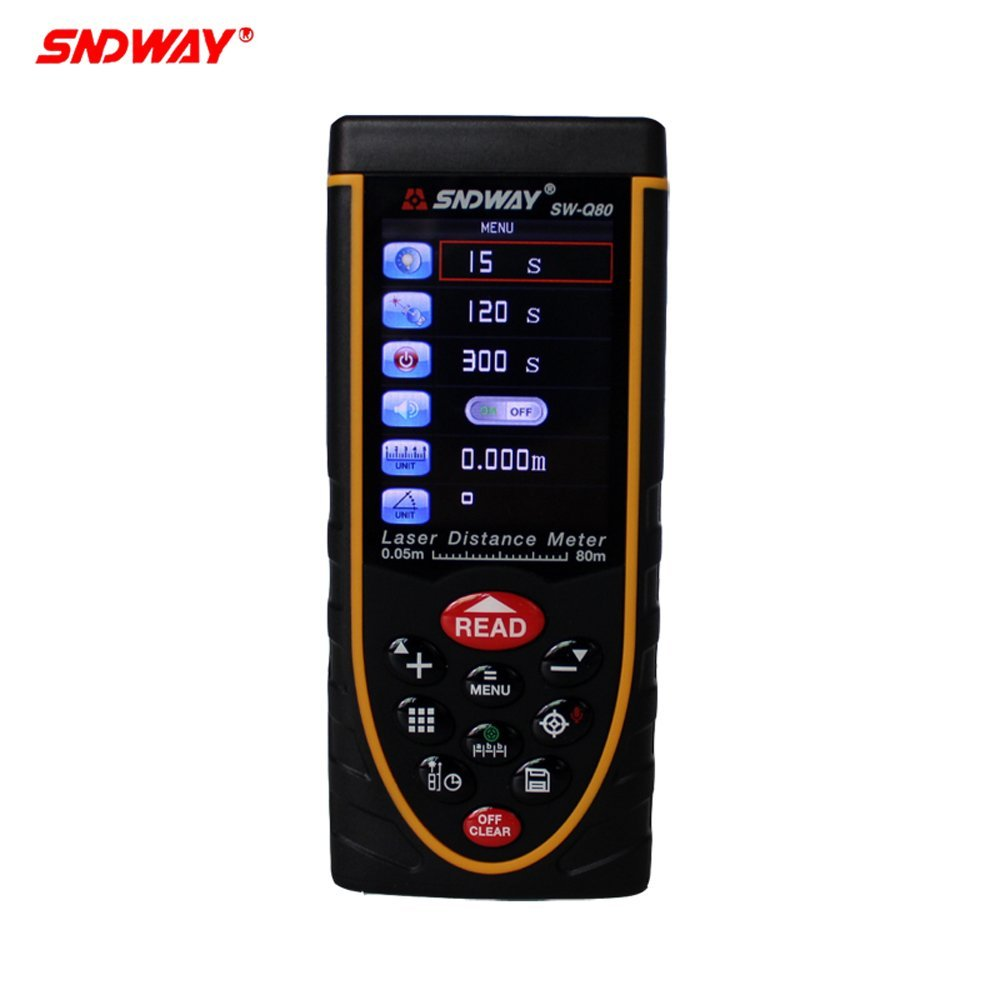 SNDWAY SW-Q80  Digital Talking Device Distance Meter 80M-120M  Laser Range Finders Bubble Level Area Volume Tool  цены