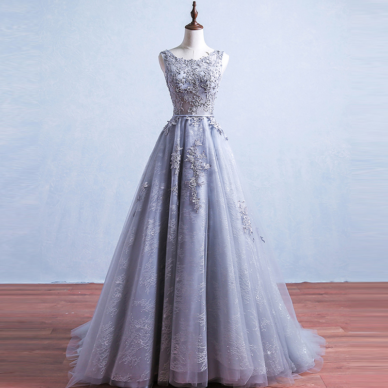 Evening-Dresses Train Sequined A-Line Grey Long Formal Sleeveless Lace Short Backless title=