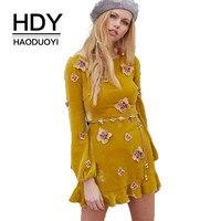 אופנה אביב סגנון המערבי Haoduoyi אפליקציה רזה O-צוואר שרוול ארוך פרפר שמלת קטיפה מקרית של האישה SML XL XXL צהוב