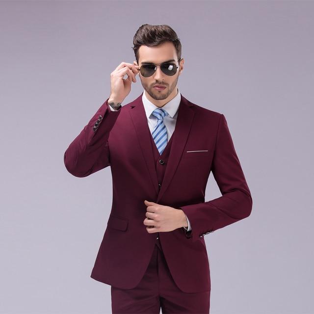 faebec41ea84 (Jacket+Vest+Pants)Men Slim Fit Suits Plus Size M- 5XL Mens White Wedding  Suits With Pants Business Mens Formal Wear MGXF1