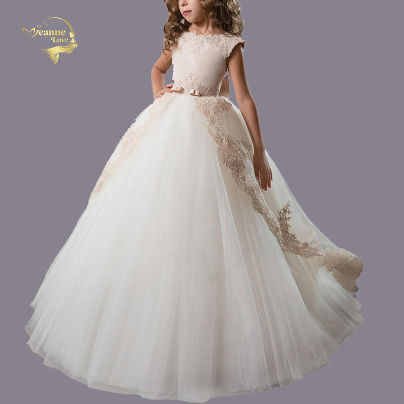 Light Champagne   Flower     Girls     Dresses   For Wedding Party Important Occasions Clothing Children's Evening Prom Gown 2 3 4 5 6 7 8 9