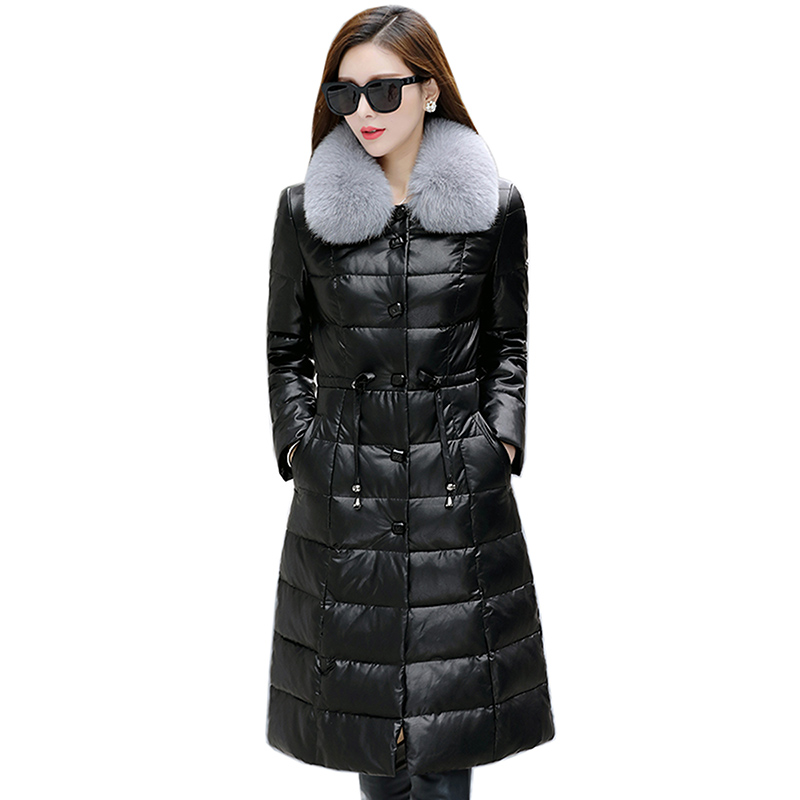 208 Long Women Winter   Down   Jacket Female White Duck   Down   Womens Hooded Ultra Light   Down   Jacket Fur Collar Leather Slim   Down     Coat