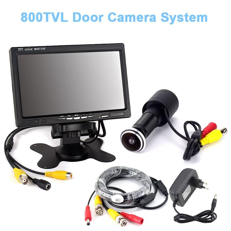 800TVL Color Door Camera 7inch Monitor 5M cable power adatper