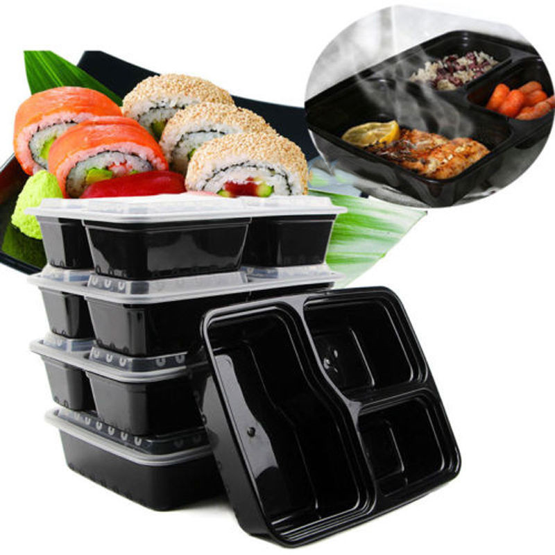 3 Compartment Meal Prep Containers Durable BPA Free Plastic Food