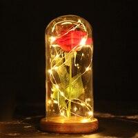 Hot Eternal Red Rose Flower LED Light Nightlight Warm White Home Indoor Decoration Roses For Girls
