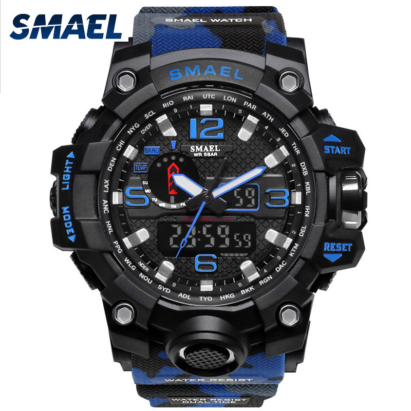 Digital Display Watch Outdoor Sports Watches Camouflage Militar Style Watch Blue Color Waterproof Dive 50Meters Wristwatch 1545B