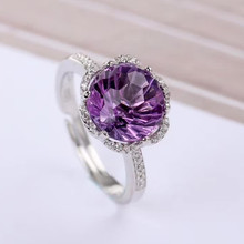 gem fine jewelry factory wholesale 925 sterling silver10x12mm oval natural purple crystal amethyst  ring for female canton gle 436 mocca white
