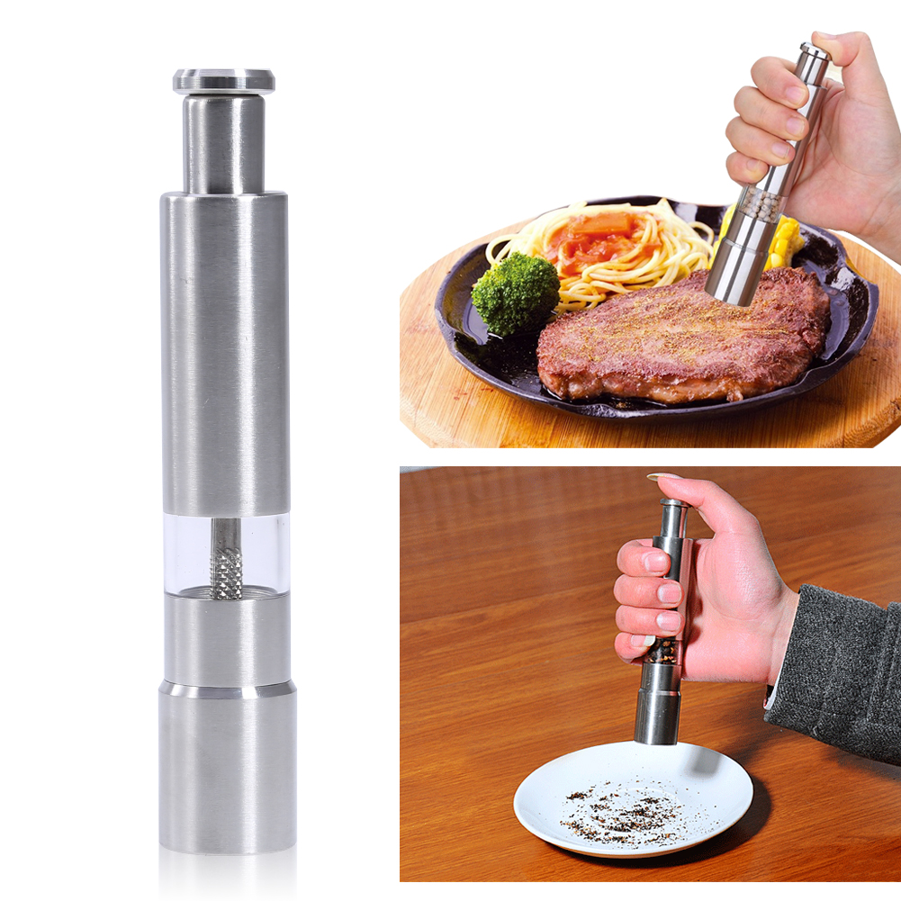High Class Stainless Steel Metal Salt Pepper Mill Grinder Spice Manual Hand Mills Kitchen Tool Salt and Pepper Mill props